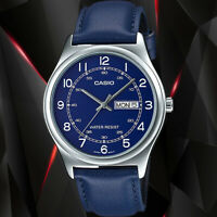 Casio MTP-V006L-2B Mens Analog Blue Dial Watch Blue Leather Band Day Date New