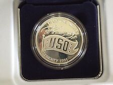 US Mint 1991 USO 50th Anniversary Silver Dollar Proof