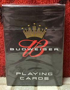 BUDWEISER KING OF BEER POKER CARDS BICYCLE LICENSED SEALED BLACK DECK