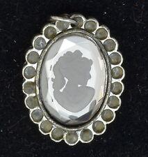 Cameo on Rhinestone and Enamel Handmade Vintage Tibetan Silver 25mm Pendant