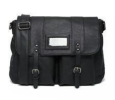 Mens Black Laptop Bag Briefcase Messenger Work Office Faux Leather Shoulder Bag