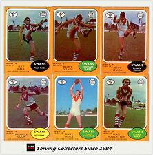 RARE-Scanlens VFL Trading Card 1973 B Full Team Set South Mel. (6)--EXCELLENT