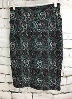 Lularoe LLR Cassie Skirt Pencil Black Green White Paisley Print Small