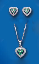 Emerald and Diamond Heart Set Pendant and Earrings Solid Sterling Silver
