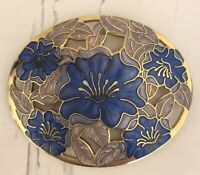 Vintage Floral Fish & Crown Cloisonne Enamel Pin Brooch Oval Unique Pretty
