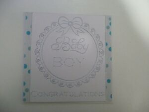 """Hand stitched Card - Baby Boy - 5.25"""" square - NEW"""