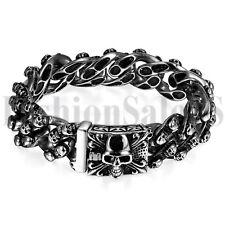 Mens Punk Heavy Stainless Steel Skull Biker Chain Holloween Bracelet Bangle Cuff