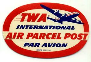 International Air Parcel Post ~TWA AIRLINE~ Old Luggage Label
