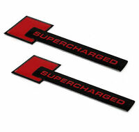 2X SUPERCHARGED Red and Black Badge Emblem Logo Decal Sticker Front Rear Audi