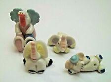lot de 4 éléphants en céramique, humoristique , elefant , olifant G-tp7-10