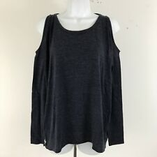 Chaser   Blue Cold Shoulder Long Sleeve Cut Out Back Tee Shirt  Size M NWT