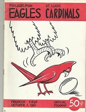 ORIGINAL PROGRAM PHILADELPHIA EAGLES VS ST. LOUIS CARDINALS OCT 1ST 1961