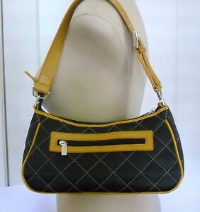 QUILTED NAVY SATCHEL TAN TRIM MINT CONDITION SHOULDER STRAP BY SYDNEY LOVE