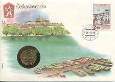 superbe enveloppe TCHECOSLOVAQUIE PRAGUE pièce monnaie 1 1977 UNC NEW timbre