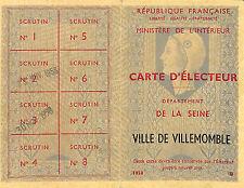 93 VILLEMOMBLE ANCIENNE CARTE D' ELECTEUR 1958