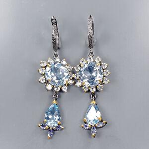 Handmade Earrings Blue Topaz Earrings Silver 925 Sterling   /E54916