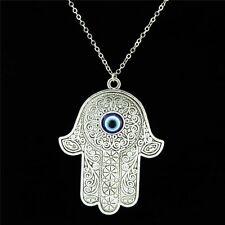 "16-4 Silver 62mm Acrylic Evil Eye Hamsa Hand Pendant Collar Choker Necklace 18"""
