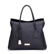 UScarmen Women's Pebbled Leather Carryall Satchel 1528 BLACK