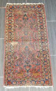 """Antique Wool Sarouk Runner 25 3/4"""" X 55 3/4"""" Deer Bird Floral Motif Symmetry"""