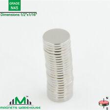 """24-count neodymium N45 Disc rare earth NdFeb magnets 1/2 x 1/16"""" (true N45)"""