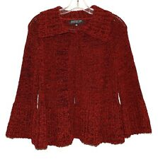 Jones New York Red Chunky Knit Womens Zipper Sweater with Flares Bottom Size PS
