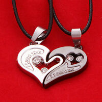 2pcs Luxury Stainless Steel I Love You Heart Pendant Lover Couple Charm Necklace