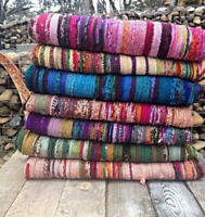 HANDMADE FAIR TRADE INDIAN CHINDI RAG RUGS HAND WOVEN MAT LARGE STRIPED Floor Ma