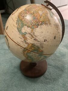 Vintage Replogle 9 Inch World Classic Series Globe Raised Relief Map Wood Base!!