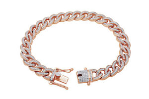 Round Cut Simulated Diamond in Cuban Link Bracelet 14K Rose Gold Over Silver
