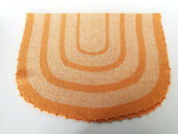 "Handcrafted Throw Rug 36"" x 24"" Orange White Vintage Knit Crochet Knotted Edge"