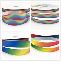 "3/8"".5/8"" rainbow Printed Grosgrain Ribbon Hair Bow Sewing Crafts 50-100 Yard"