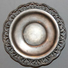 ANTIQUE ART DECO RUSSIAN ORNATE SILVERPLATED FILIGREE SMALL SAUCER PLATE