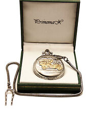 """Primemax: Pocket Watch:""""Gold Classic Car"""" Cover Case,Silver Finish,With Chain"""