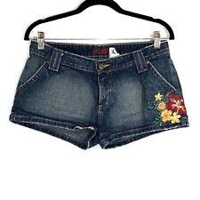 Lilu Women's Juniors Denim Shorts Embroider Flower Size 5 Dark