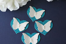 12 TEAL GLITTER HEART & IVORY 3D BUTTERFLY WEDDING TABLE DECORATION TOPPERS