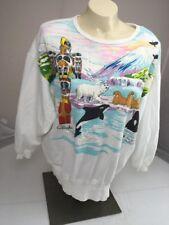 Vintage 90s RTW PUFFY PAINT ALASKA PRINCESS CRUISES marine life sweatshirt L