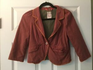 Free People Gray and Red Striped Blazer, Size 4