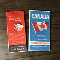 Two Vintage 1966 Canada and Calgary Highway and City Maps 1960s White Hatties