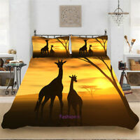 Africa Giraffe Doona Quilt Duvet Cover Set Single/Double/Queen/King Bed Linen