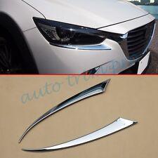 2X Chrome Head Front Light Lamp Cover Trim For Mazda CX-3 2016 2017 Accessories