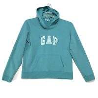 GAP Pull Over Sweatshirt Hoodie Womens Size L Large Green Blue Spell-out Sew On