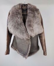 All Saints Mures Sheepskin jacket Leather shearling SIZE 12