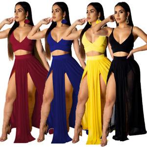 Womens' Sexy 2 Piece Skirt Set V Neck Bra Crop Top High Split Maxi Dress Outfits