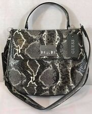 NEW GUESS Women's Cali Croc-Embossed Bag color: Black/White