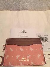 COACH  Blush Chalk Butterfly Flat Card Case / Credit Card Holder-NWT