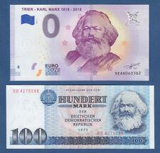 0 Euro Trier Karl Marx 2018-1 + Original 100 Mark 1975 DDR Karl Marx