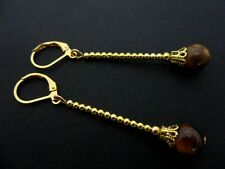 A PAIR OF TIGERS EYE  GOLD PLATED DROP DANGLY LEVERBACK HOOK EARRINGS. NEW.