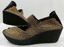 Steven Steve Madden Brynn Wedge MJ Bronze Gold Woven Stretch Comf Shoes Women 8M