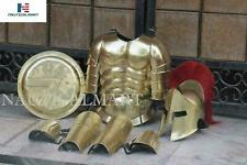 Antique Muscle Armor Jacket W/ Medieval Spartan Helmet, Leg  Arm Guard & Shield
