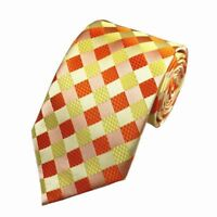 Orange Mens Tie and Yellow Check Patterned Handmade 100% Silk Wedding Necktie